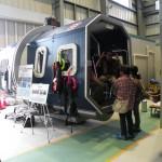 ヘリコプター模擬装置の展示
